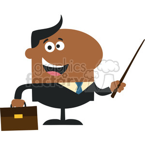 8355 Royalty Free RF Clipart Illustration African American Manager Holding A Pointer Stick Flat Style Vector Illustration
