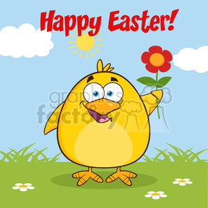 8603 Royalty Free RF Clipart Illustration Happy Easter With Smiling Yellow Chick Cartoon Character With A Red Daisy Flower Vector Illustration With Background clipart. Royalty-free image # 396114