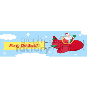 8207 Royalty Free RF Clipart Illustration Santa Flying In The Sky With Christmas Plane And A Blank Banner Attached With Text