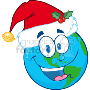 8211 Royalty Free RF Clipart Illustration Santa Hat On A Earth Cartoon Mascot Character clipart. Commercial use image # 396134