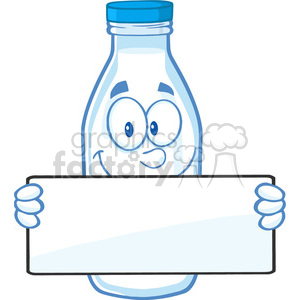Clipart Illustration Funny Milk Bottle Cartoon Mascot Character Holding A Banner clipart. Commercial use image # 396144