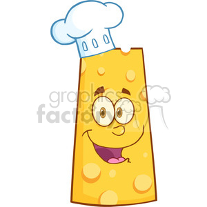 Royalty Free RF Clipart Illustration Smiling Swiss Cheese Cartoon Mascot Character With Chef Hat
