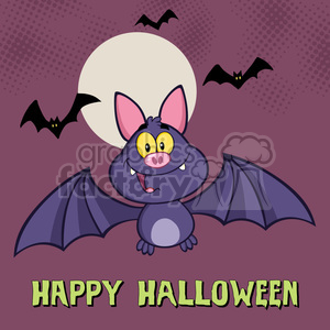 8946 Royalty Free RF Clipart Illustration Happy Vampire Bat Cartoon Character Flying Vector Illustration Greeting Card