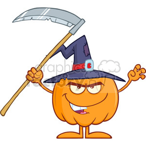 Royalty Free RF Clipart Illustration Scaring Halloween Pumpkin With A Witch Hat And Scythe Cartoon Mascot Character clipart. Commercial use image # 396194