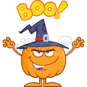 Royalty Free RF Clipart Illustration Scaring Halloween Pumpkin With A Witch Hat And Text clipart. Commercial use image # 396214