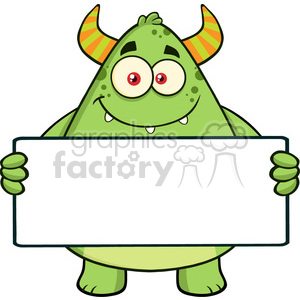 8934 Royalty Free RF Clipart Illustration Smiling Horned Green Monster Cartoon Character Holding A Blank Sign Vector Illustration Isolated On White clipart. Commercial use image # 396224