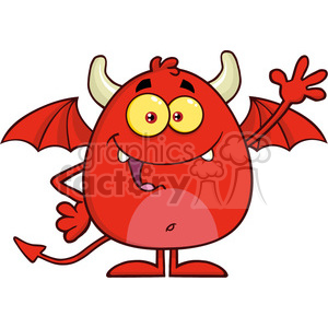 8958 Royalty Free RF Clipart Illustration Happy Red Devil Cartoon Character Waving Vector Illustration Isolated On White