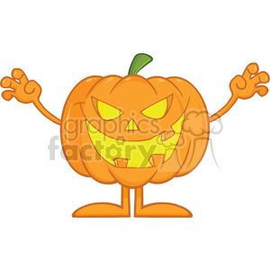Scaring Halloween Pumpkin Cartoon Mascot Character clipart. Royalty-free image # 396244