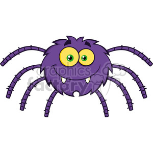 8951 Royalty Free RF Clipart Illustration Funny Spider Cartoon Character Vector Illustration Isolated On White