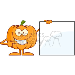 Royalty Free RF Clipart Illustration Smiling Halloween Pumpkin Mascot Character Showing A Blank Sign