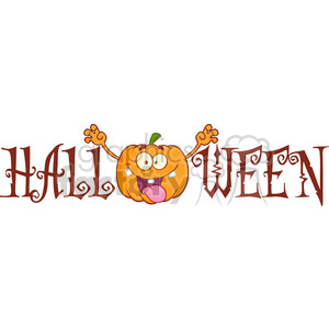Royalty Free RF Clipart Illustration Halloween Text With Scaring Pumpkin Cartoon Character clipart. Commercial use image # 396314