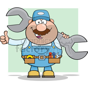 8545 Royalty Free RF Clipart Illustration Mechanic Cartoon Character Holding Huge Wrench And Giving A Thumb Up Vector Illustration With Background