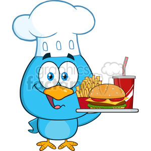 8828 Royalty Free RF Clipart Illustration Blue Bird Chef Cartoon Character Holding A Platter With Burger, French Fries And A Soda Vector Illustration Isolated On White
