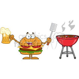 8578 Royalty Free RF Clipart Illustration Happy Hamburger Cartoon Character Holding A Beer And Bbq Slotted Spatula By A Grill Vector Illustration Isolated On White clipart. Commercial use image # 396378