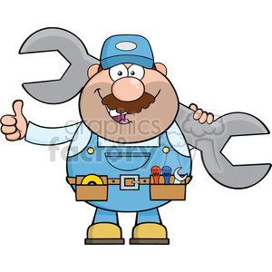 8544 Royalty Free RF Clipart Illustration Mechanic Cartoon Character Holding Huge Wrench And Giving A Thumb Up Vector Illustration Isolated On White clipart. Royalty-free image # 396394