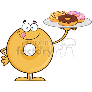 8661 Royalty Free RF Clipart Illustration Donut Cartoon Character Serving Donuts Vector Illustration Isolated On White clipart. Commercial use image # 396414