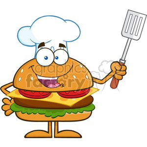 8570 Royalty Free RF Clipart Illustration Chef Hamburger Cartoon Character Holding A Slotted Spatula Vector Illustration Isolated On White clipart. Royalty-free image # 396416