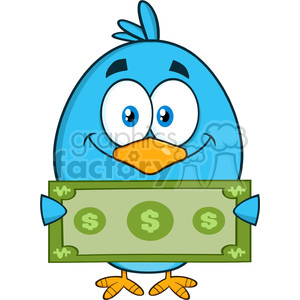8836 Royalty Free RF Clipart Illustration Smiling Blue Bird Cartoon Character Showing A Dollar Bill Vector Illustration Isolated On White clipart. Commercial use image # 396440