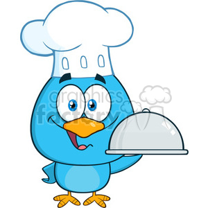 8818 Royalty Free RF Clipart Illustration Chef Blue Bird Cartoon Character Holding A Platter Vector Illustration Isolated On White