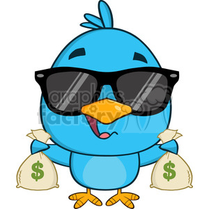 8846 Royalty Free RF Clipart Illustration Cute Blue Bird With Sunglasses Cartoon Character Holding A Bags Of Money Vector Illustration Isolated On White clipart. Royalty-free image # 396476