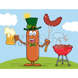 Illustration of Smiling Irish Sausage Cartoon Character Holding A Beer And Weenie Next To BBQ Vector