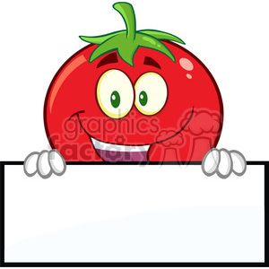8390 Royalty Free RF Clipart Illustration Smiling Tomato Cartoon Mascot Character Over A Blank Sign Vector Illustration Isolated On White clipart. Commercial use image # 396512
