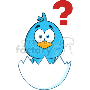 8808 Royalty Free RF Clipart Illustration Cute Blue Bird Cartoon Character Hatching From An Egg With Question Mark Vector Illustration Isolated On White clipart. Commercial use image # 396538
