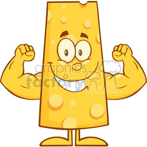 8508 Royalty Free RF Clipart Illustration Smiling Cheese Cartoon Character Flexing Vector Illustration Isolated On White
