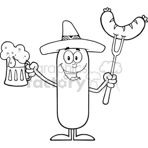 8449 Royalty Free RF Clipart Illustration Black And White Happy Mexican Sausage Cartoon Character Holding A Beer And Weenie On A Fork Vector Illustration Isolated On White clipart. Commercial use image # 396546