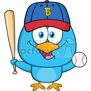 8843 Royalty Free RF Clipart Illustration Happy Blue Bird Cartoon Character Swinging A Baseball Bat And Ball Vector Illustration Isolated On White clipart. Royalty-free image # 396552