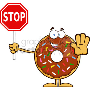 8688 Royalty Free RF Clipart Illustration Smiling Chocolate Donut Cartoon Character With Sprinkles Holding A Stop Sign Vector Illustration Isolated On White clipart. Royalty-free image # 396566