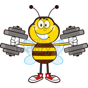 8375 Royalty Free RF Clipart Illustration Smiling Bee Cartoon Mascot Character Training With Dumbbells Vector Illustration Isolated On White clipart. Commercial use image # 396578