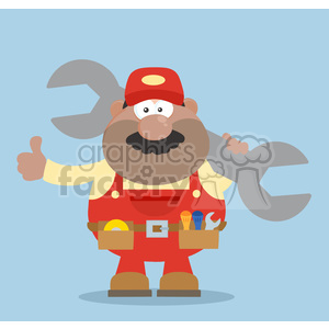clipart - 8551 Royalty Free RF Clipart Illustration African American Mechanic Cartoon Character Holding Huge Wrench And Giving A Thumb Up Flat Syle Vector Illustration.