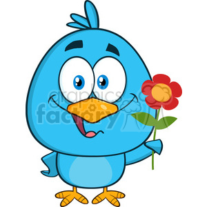 8844 Royalty Free RF Clipart Illustration Happy Blue Bird Cartoon Character With A Red Daisy Flower Vector Illustration Isolated On White
