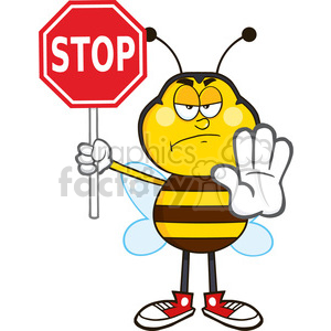 8379 royalty free rf clipart illustration angry bee cartoon mascot character holding a stop sign vector illustration isolated on white