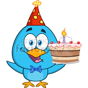 8847 Royalty Free RF Clipart Illustration Happy Blue Bird Cartoon Character Holding Up A Birthday Cake Vector Illustration Isolated On White clipart. Royalty-free image # 396664