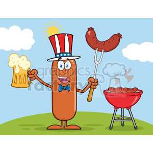 8458 Royalty Free RF Clipart Illustration Patriotic Sausage Cartoon Character Holding A Beer And Weenie Next To BBQ Vector Illustration Isolated On White