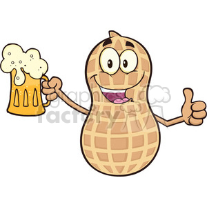 8738 Royalty Free RF Clipart Illustration Happy Peanut Cartoon Mascot Character Holding A Beer And Thumb Up Vector Illustration Isolated On White clipart. Royalty-free image # 396694