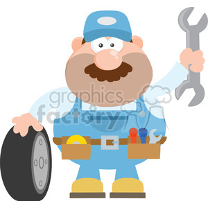 8557 Royalty Free RF Clipart Illustration Smiling Mechanic Cartoon Character With Tire And Huge Wrench Flat Syle Vector Illustration Isolated On White clipart. Commercial use image # 396696
