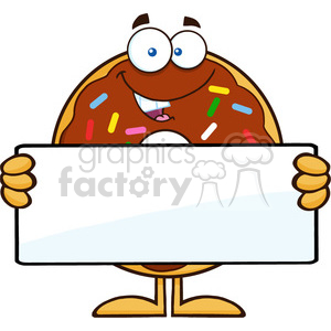 8694 Royalty Free RF Clipart Illustration Chocolate Donut Cartoon Character With Sprinkles Holding a Blank Sign Vector Illustration Isolated On White