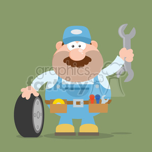 8558 Royalty Free RF Clipart Illustration Smiling Mechanic Cartoon Character With Tire And Huge Wrench Flat Style Vector Illustration With Background clipart. Royalty-free image # 396746