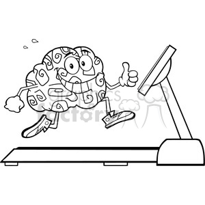 8805 Royalty Free RF Clipart Illustration Back And White Healthy Brain Cartoon Character Running On A Treadmill And Giving A Thumb Up Vector Illustration Isolated On White clipart. Commercial use image # 396758