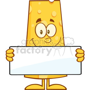 8509 Royalty Free RF Clipart Illustration Cheese Cartoon Character Holding A Banner Vector Illustration Isolated On White