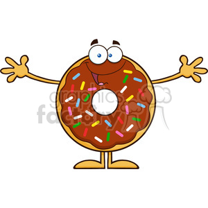 8697 Royalty Free RF Clipart Illustration Chocolate Donut Cartoon Character With Sprinkles Wanting A Hug Vector Illustration Isolated On White clipart. Commercial use image # 396816