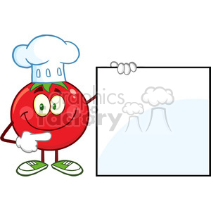 8392 Royalty Free RF Clipart Illustration Smiling Tomato Chef Cartoon Mascot Character Pointing To A Blank Sign Vector Illustration Isolated On White clipart. Royalty-free image # 396834