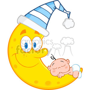 Royalty Free RF Clipart Illustration Cute Baby Boy Sleeps On The Smiling Moon With Sleeping Hat clipart. Commercial use image # 396874
