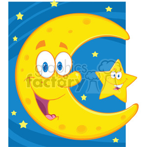 6971 Royalty Free RF Clipart Illustration Smiling Crescent Moon And Happy Litlle Star Cartoon Characters clipart. Royalty-free image # 396884