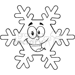 Royalty Free RF Clipart Illustration Black And White Snowflake Cartoon Mascot Character clipart. Royalty-free image # 396894