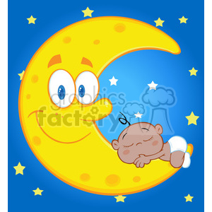 6992 Royalty Free RF Clipart Illustration Cute Baby Boy Sleeps On The Smiling Moon Over Blue Sky With Stars