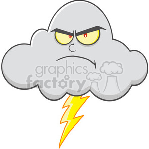 Royalty Free RF Clipart Illustration Angry Cloud With Lightning Cartoon Mascot Character clipart. Royalty-free image # 396924